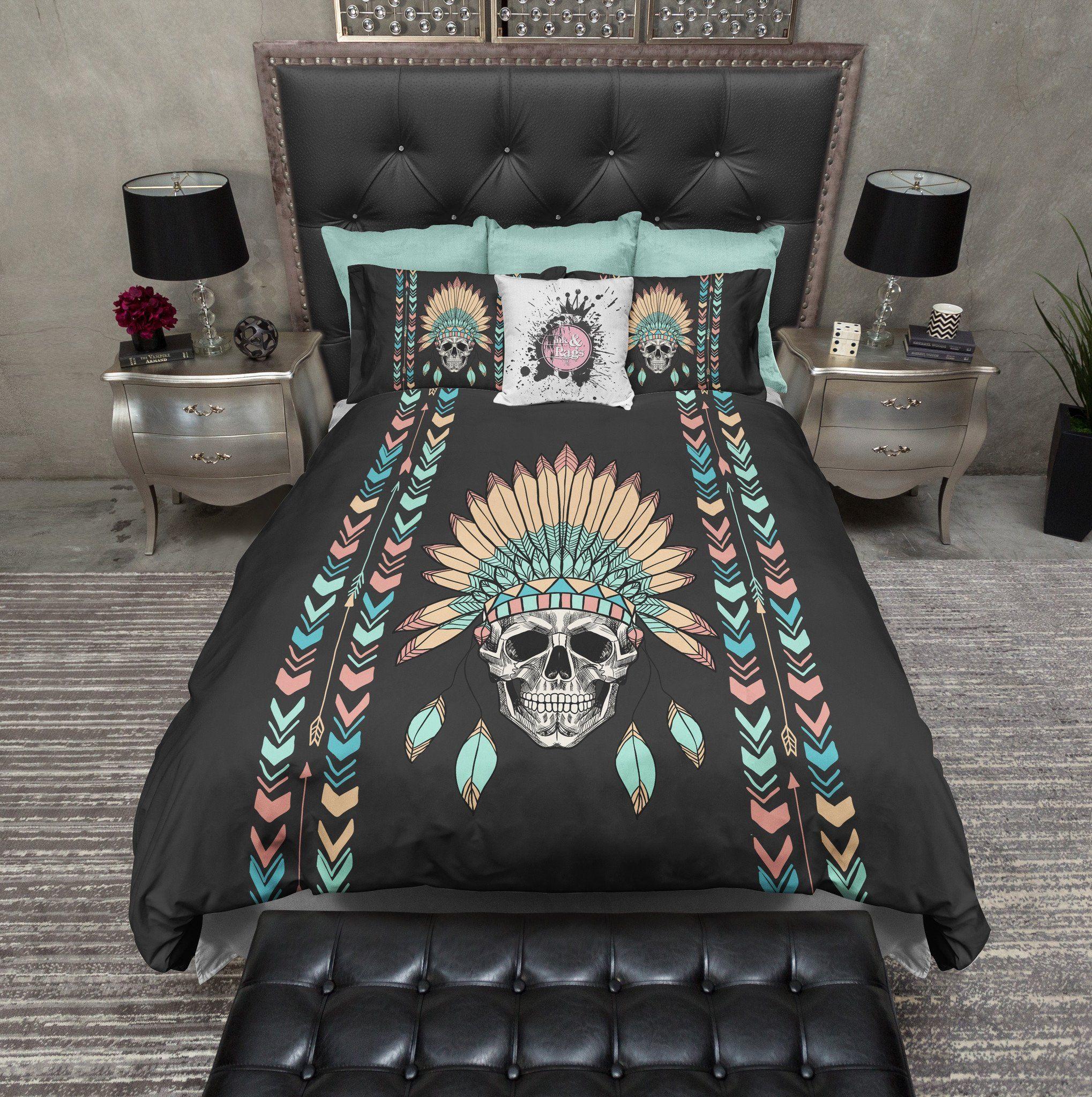 Native American Indian Headdress Chevron Skull Bedding