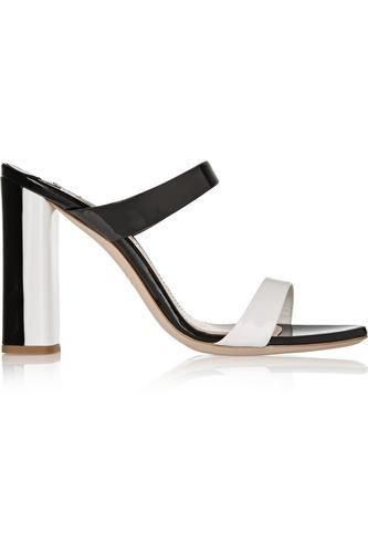 Two-tone patent-leather mules #shoes #covetme #miumiu
