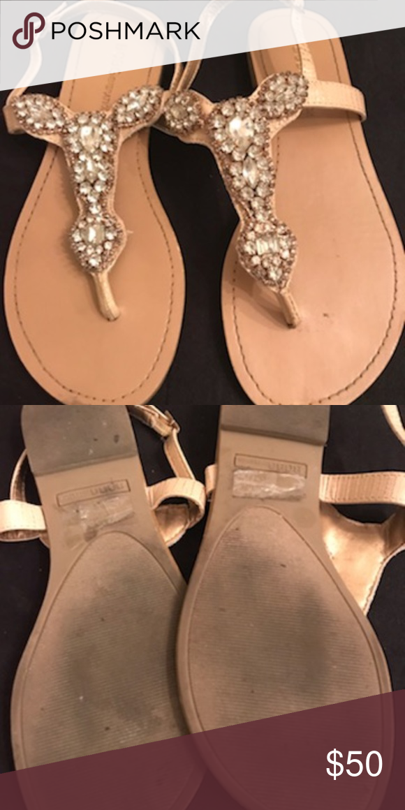 BCBG Rhinestone Thong Sandals, Champagne Colored