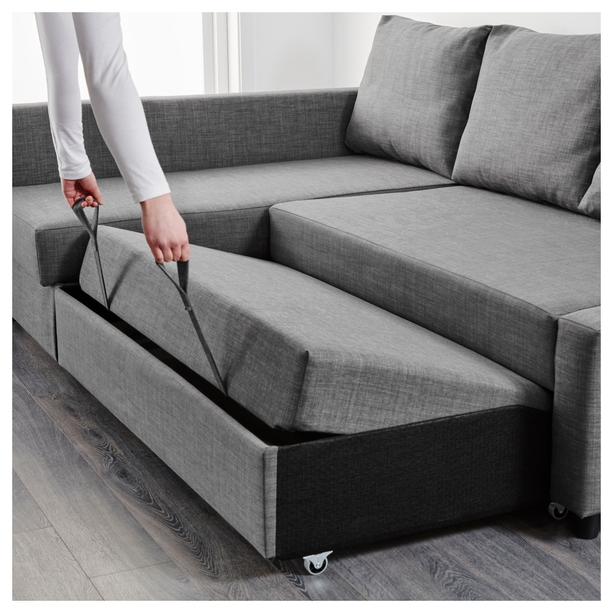IKEA FRIHETEN Corner sofa-bed with storage Skiftebo dark grey This sofa  converts quickly and easily into a spacious bed when you remove the back  cushions.