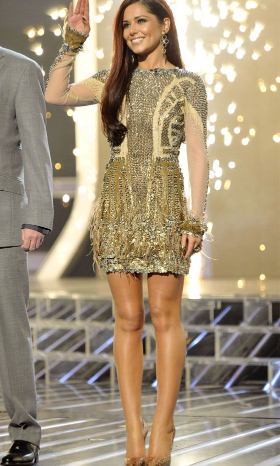 Cheryl Cole Wearing An Embellished Dress By Falguni & Shane Peacock On 'The X Factor', 2010