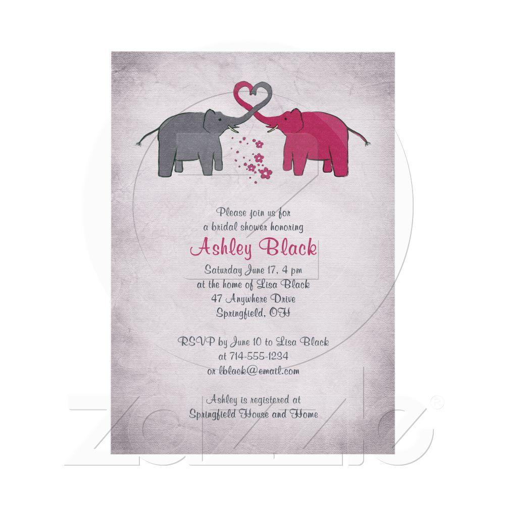 Pink And Grey Elephant Bridal Shower Invitation Grey Elephant
