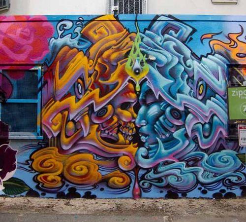 Aztec maya graffiti by hyde 1 in san francisco graffiti for Aztec mural painting