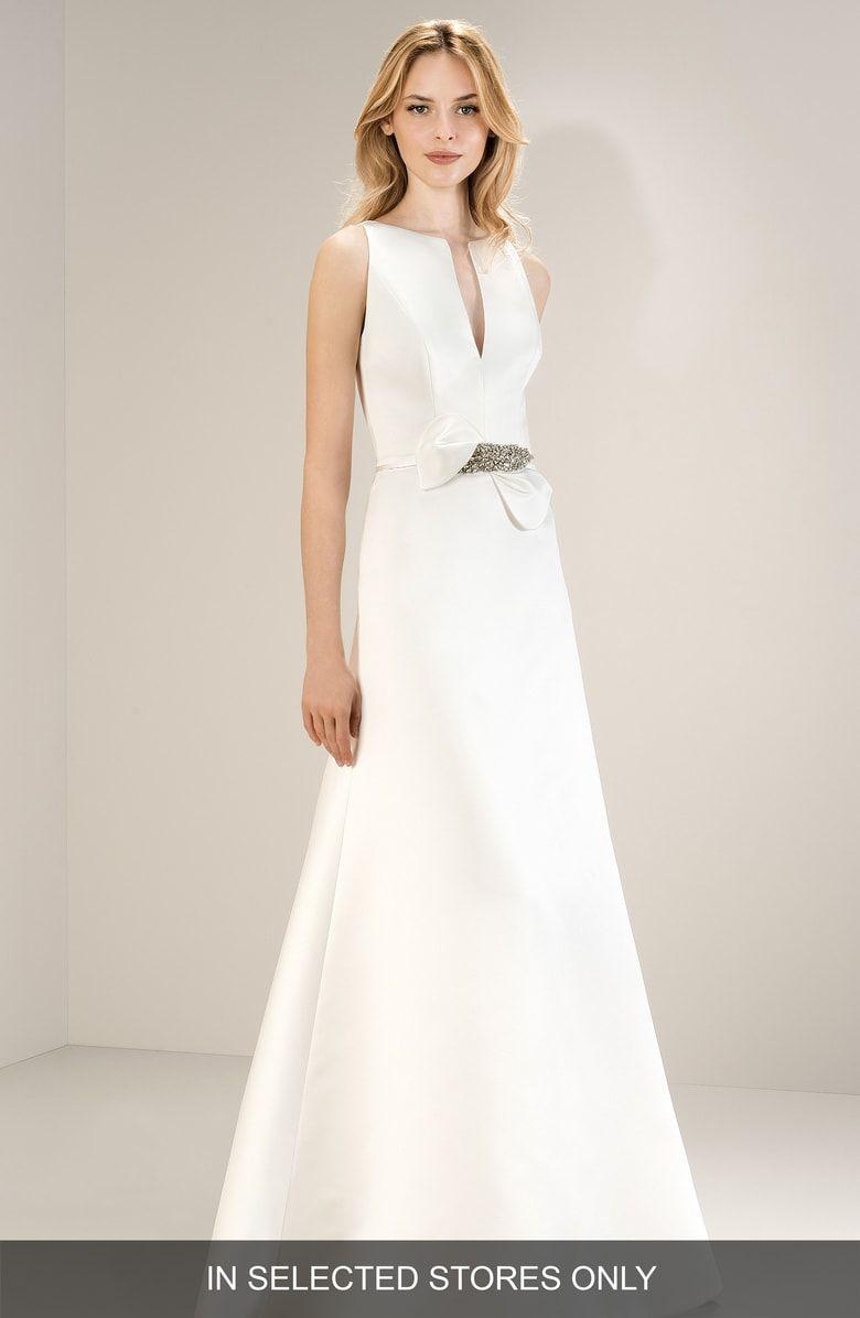 Free Shipping And Returns On Jesus Peiro Sleeveless Split Neck Satin Gown At Nordstrom Com Th Bridal Dress Design White Wedding Gowns Designer Wedding Dresses