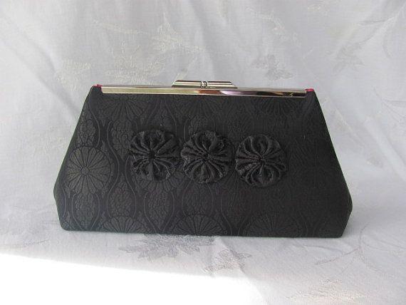 WEDDING Black  brocade  clutch purse/ BRIDESMAID by jemdesign567, $45.00