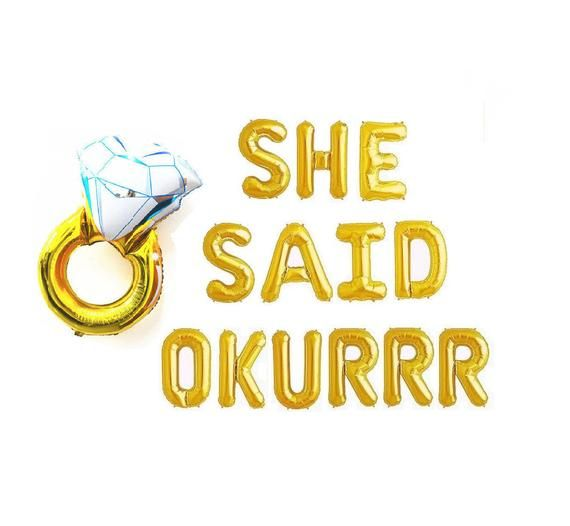 She Said Okurr She Said Yes Balloons Engagement Party Decor Engagement Ring Balloon Engaged bachelorette party Engagement Decorations Okur