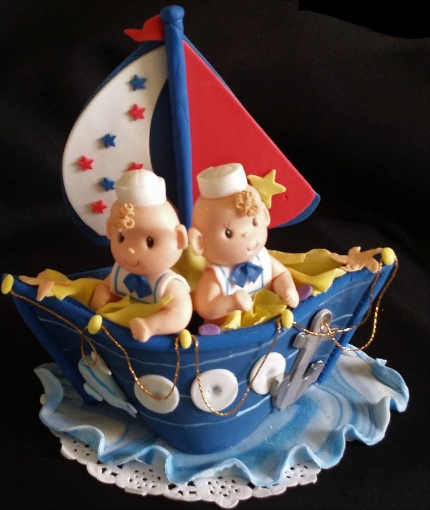 Creative Converting 1st Birthday Boy Cake Topper Blue: Nautical Twins Boys Baby Shower, Nautical First Birthday