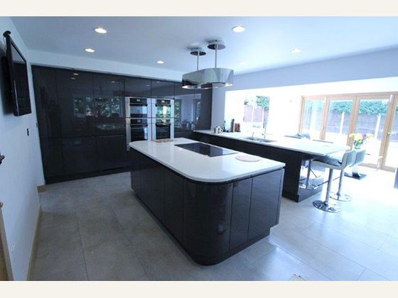 Dark Grey Modern Kitchen modern sleek huge kitchen | gloss kitchen in an edwardian house in