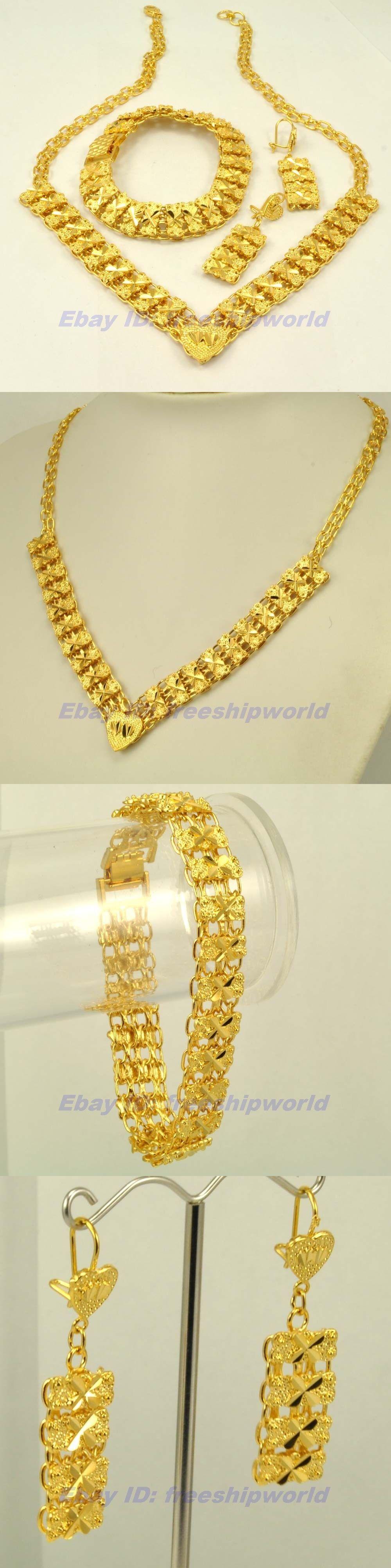 Set wholesale real k yellow gold gp set necklace bracelet earring