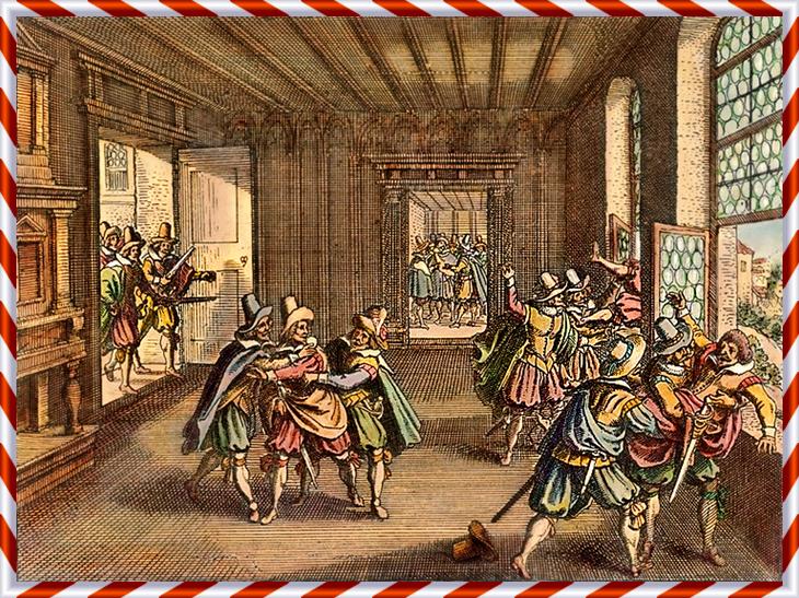 Defenestrationen i Prag där två av de katolska ståthållarna i Böhmen kastades ut genom fönstret på kungaborgen Hradčany.
