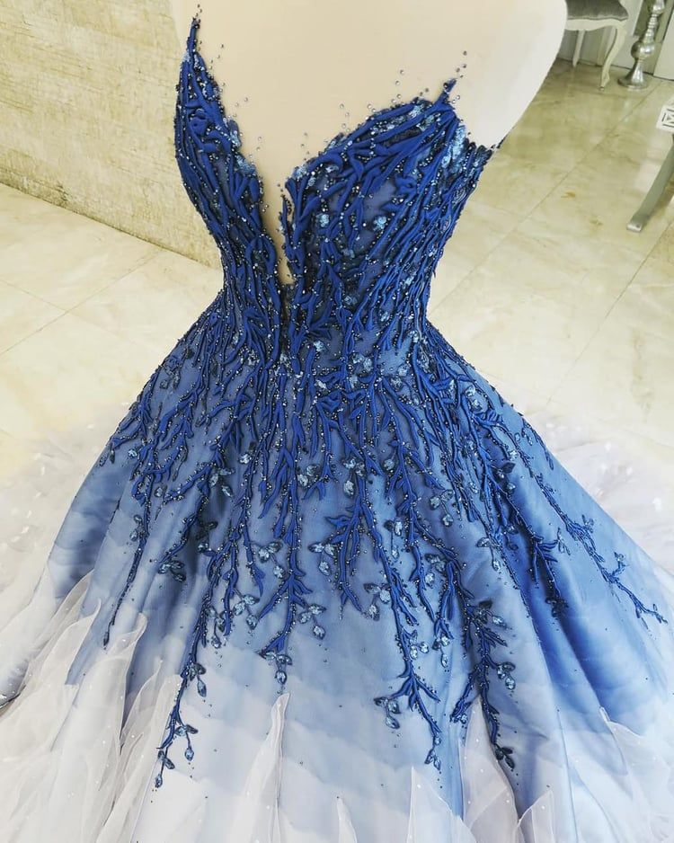 4afa3e944fd5c Vintage Mix Color Lush Prom Dresses Delicate Embroidery Ball Gowns ...