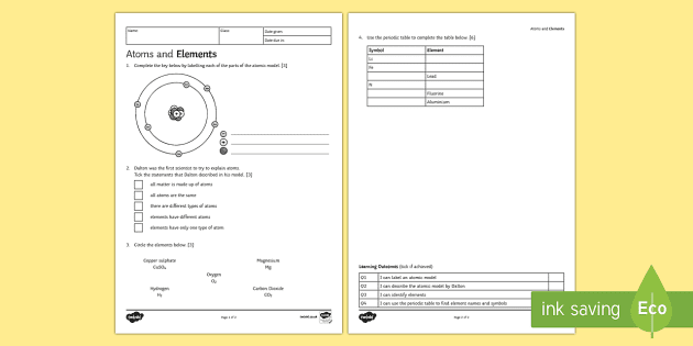 Atoms and Elements Homework Activity Sheet - Homework, atom ...
