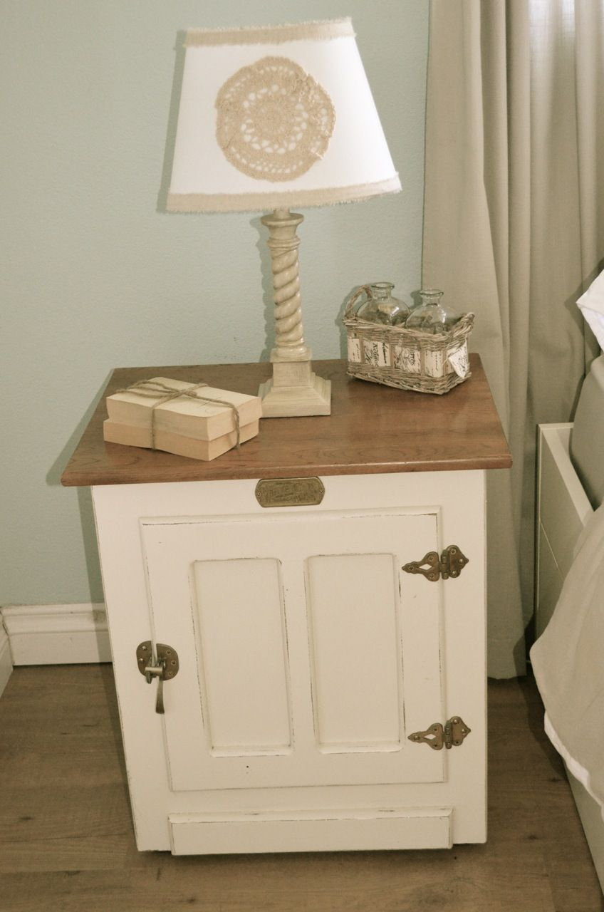 Replica Of Antique Ice Box Nightstands Distressed White