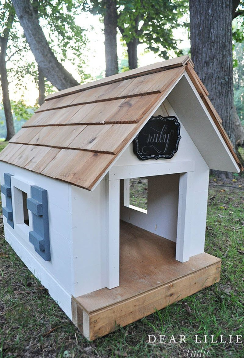 13 Diy Doghouse Plans And Ideas Wooden Dog House Dog House