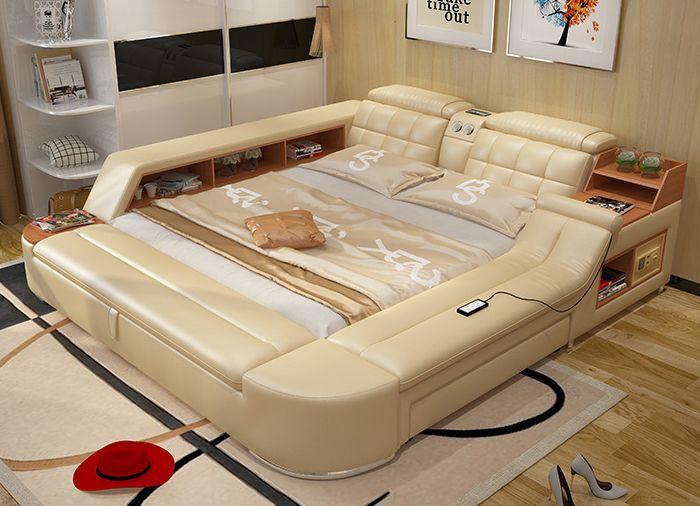 Moderne schlafzimmermöbel ~ Moderne schlafzimmer möbel massage weiches bett mit hifi