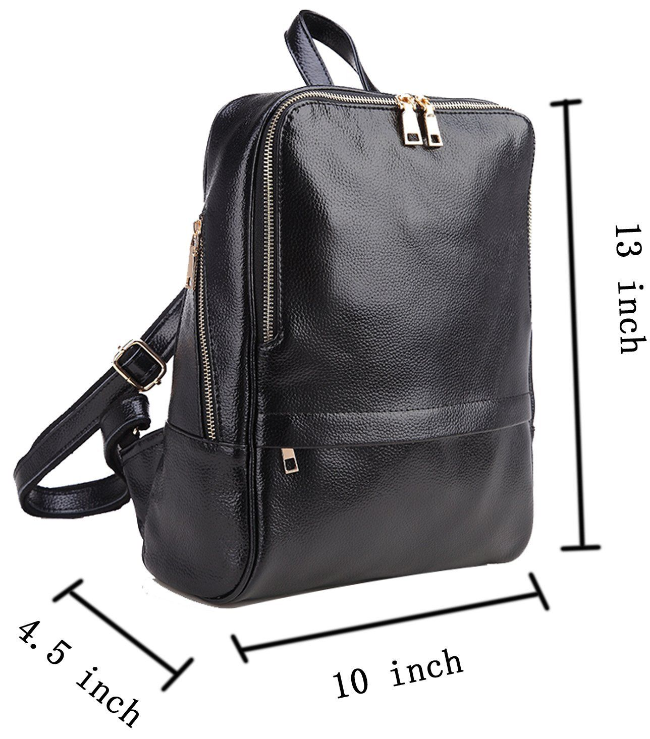 ce953bcf9575 Coolcy Hot Style Casual Women Real Genuine Leather Backpack Fashion  Shoolbag Camping Bag Shoulder Bag (Black)