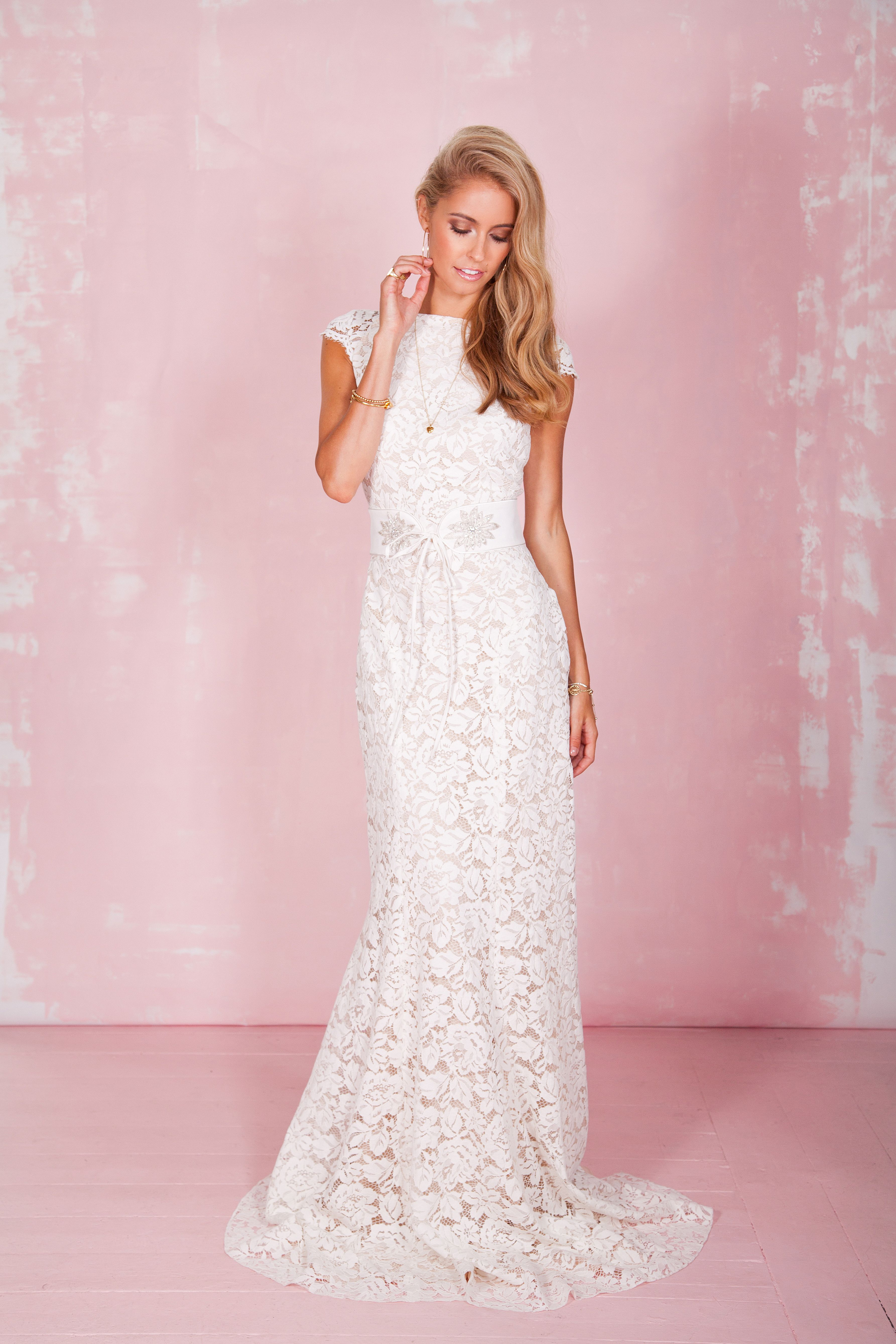Couture wedding dresses london  Jerry Dress With Belt Front  Wedding  Pinterest  Bridal