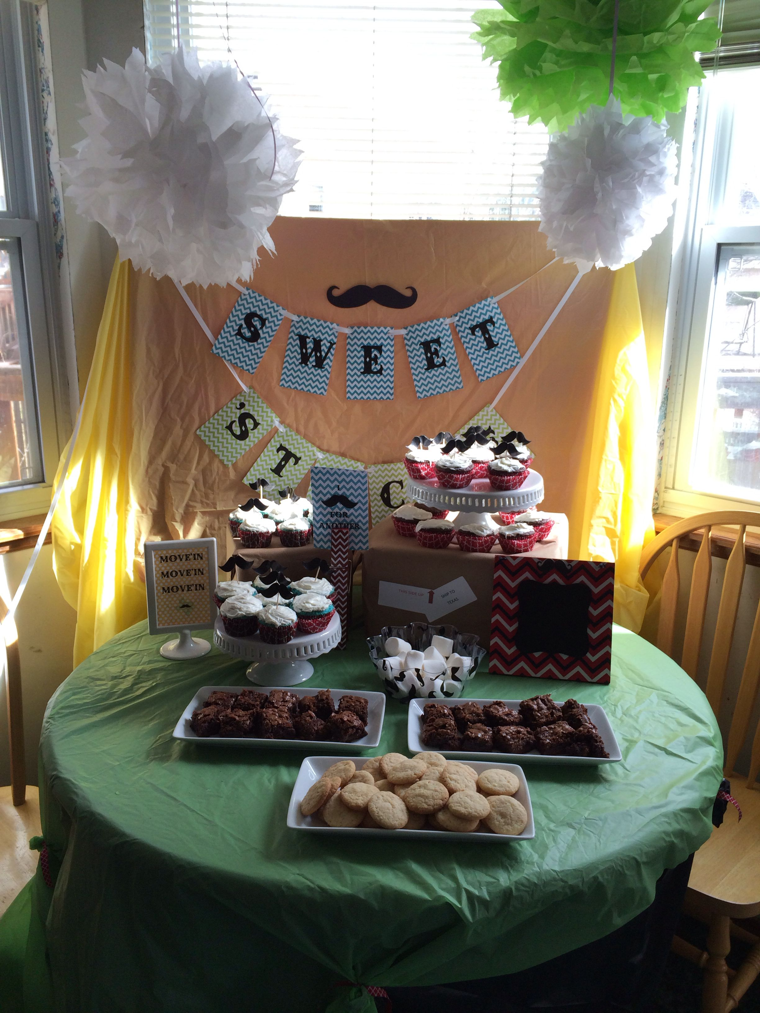 """Sorry we """"Mustache"""" (must dash), going away party. Moving to Texas."""