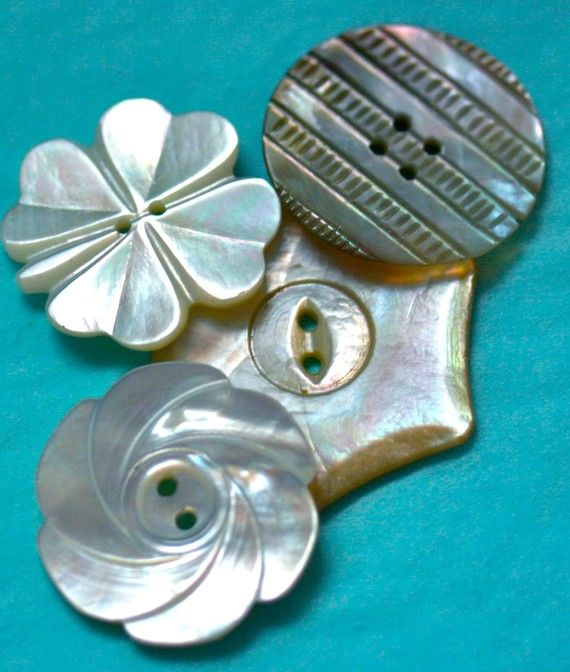 Carved abalone buttons unique shapes button