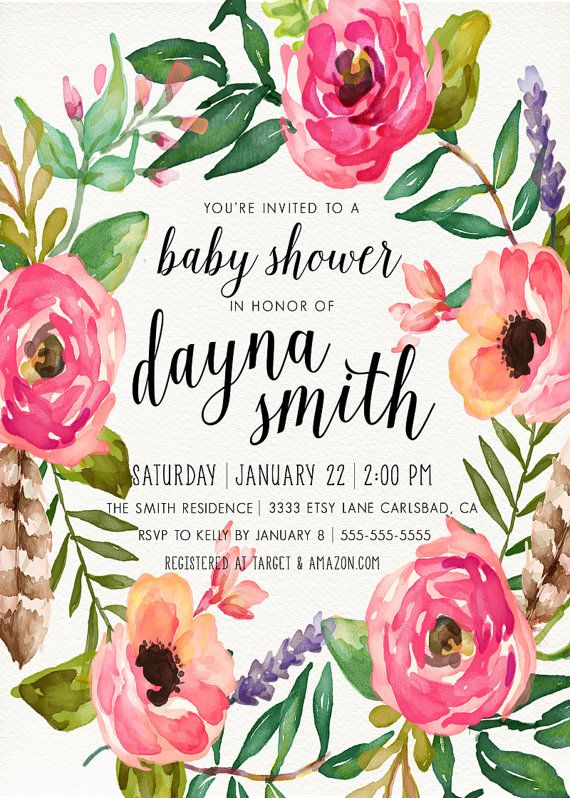 girl baby shower invitation, unique, boho, feather, flower, spring, Baby shower invitations