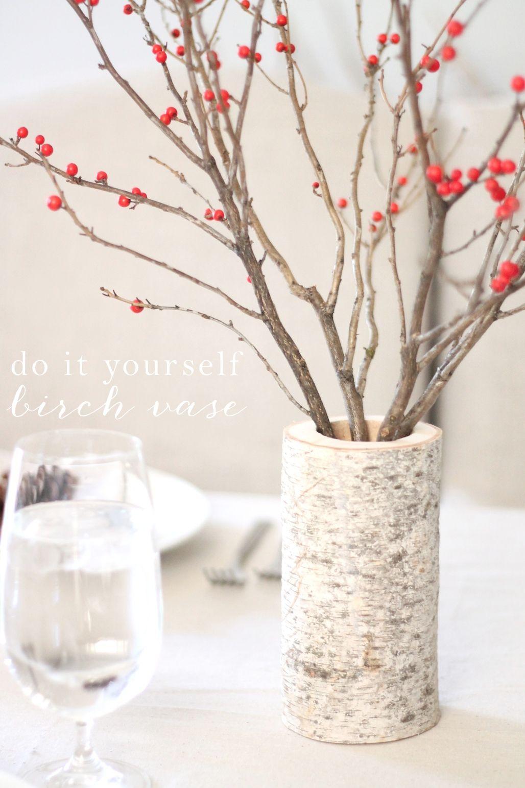 Diy Birch Vase Easy Holiday Centerpiece Holiday Centerpieces Christmas Decorations Rustic Birch Tree Decor