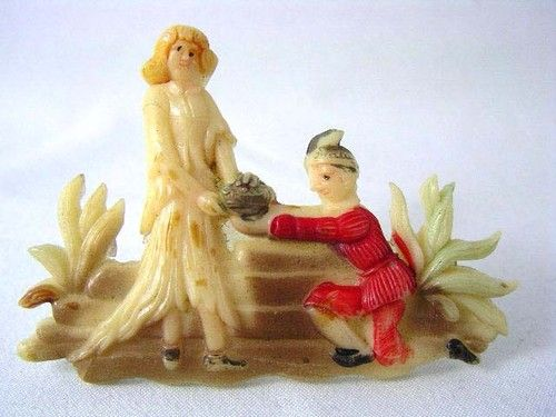 RARE High Relief Carved Celluloid Painted Grimm's Fairy Tale Brooch