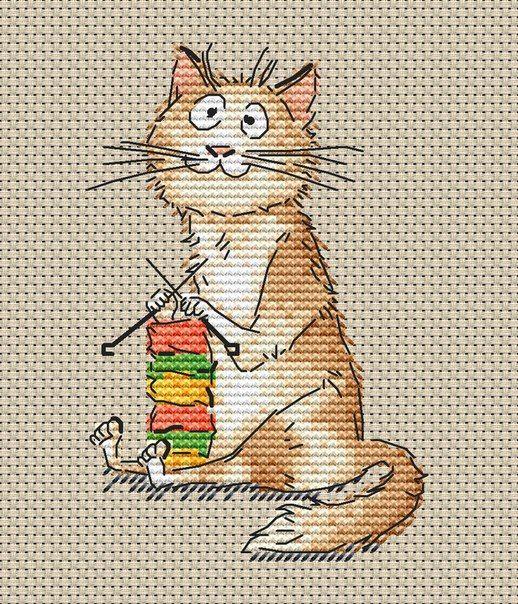 Схема вышивки крестом кота рыжего