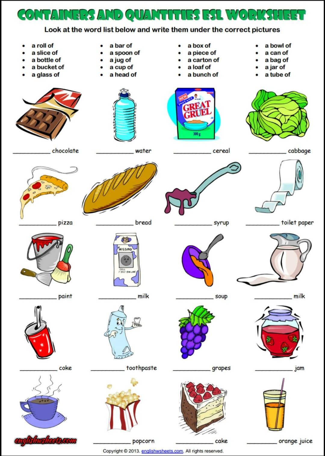 Containers And Quantity Esl Exercises Worksheet Esl Printable Grammar Worksheet And Exercises