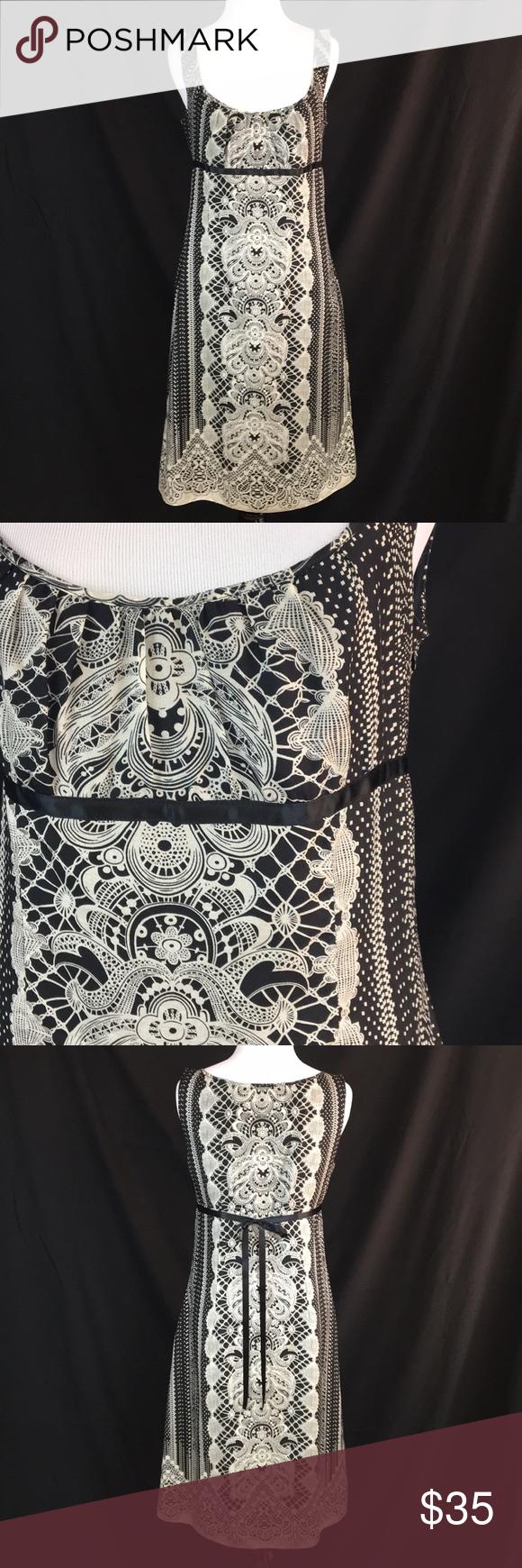 a61441c05d0 Antonio Melani Black Ivory print dress size 6 Antonio Melani Black Ivory  print dress size 6 in excellent used condition. Dress is silk  cotton.