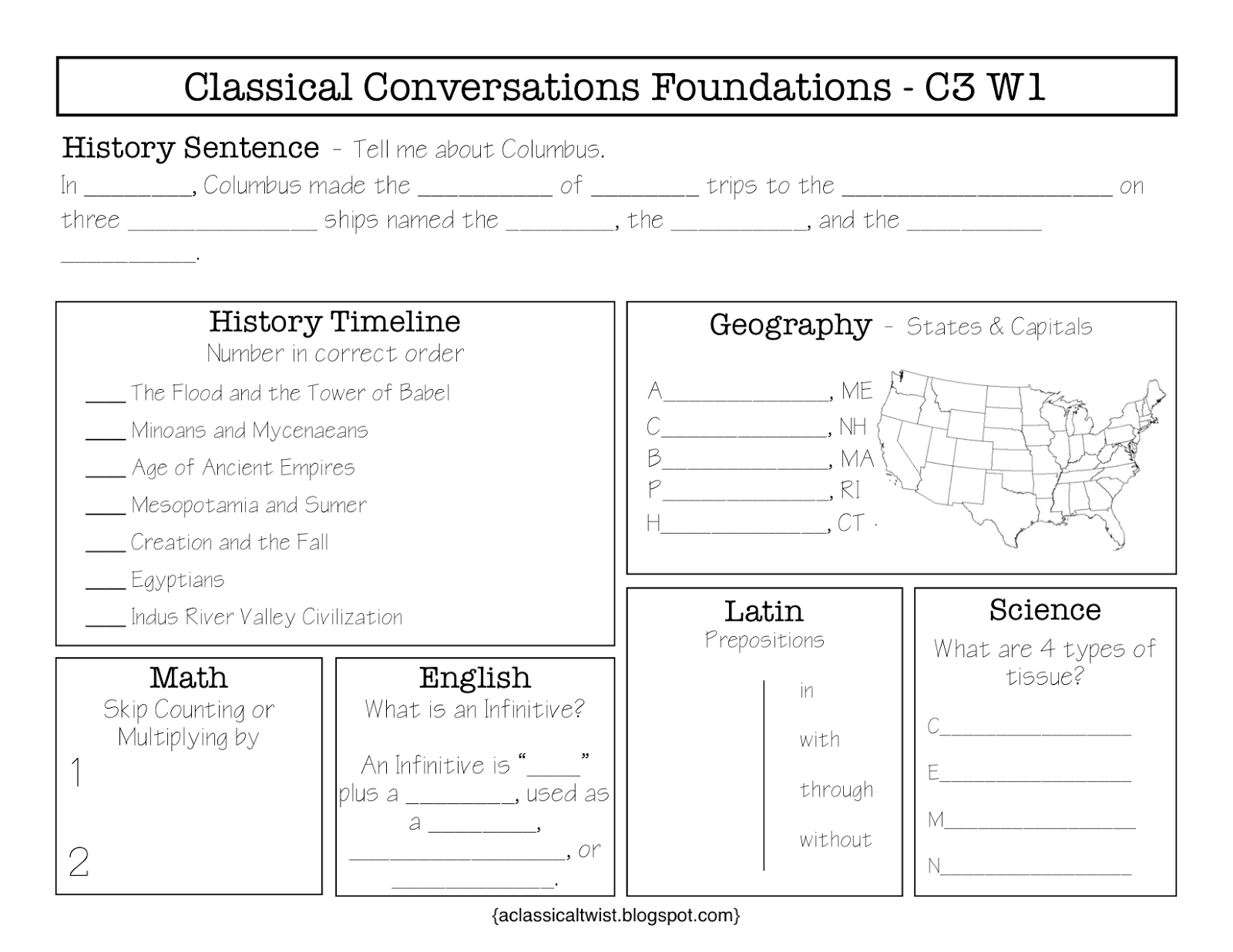 Homeschooling With A Classical Twist Cycle 3 Week 1 Review Sheets Worksheets Blank Amp Fill In