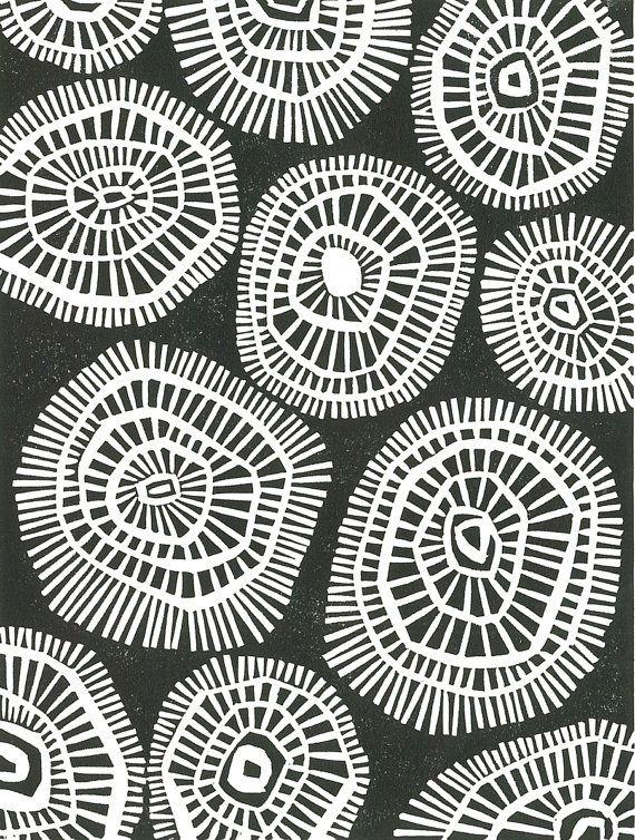 Geometric linocut print black white mid century modern print mod circles 8x10 minimalist print