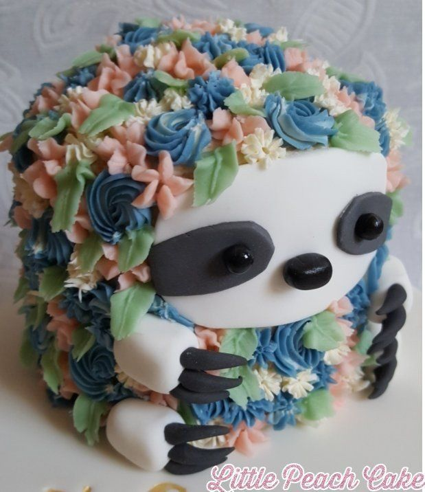 Make a Flower Sloth Cake #hedgehogcake