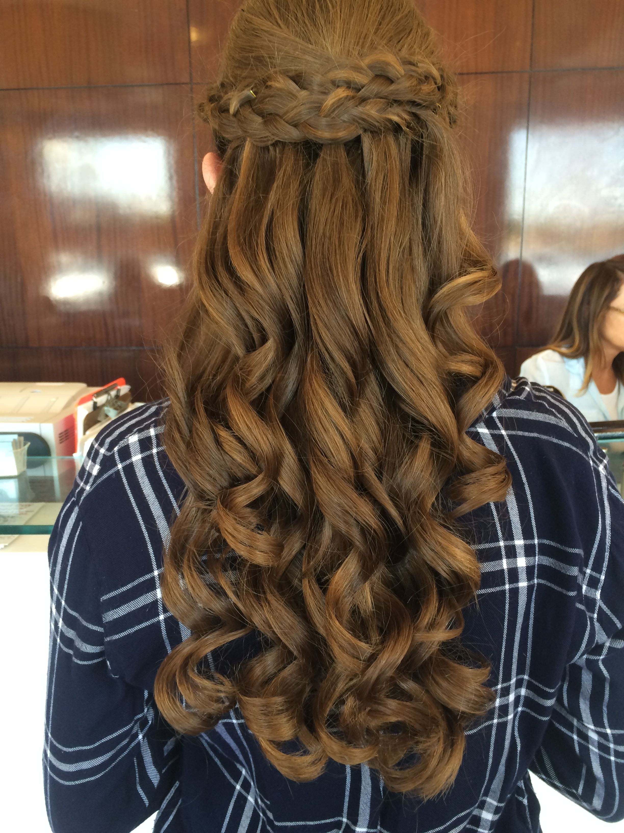 Updo Long Curly Formal Updo Hairstyle Medium Brunette Mahogany Side On View Curly Hair Up Curly Hair Updo Curly Hair Styles