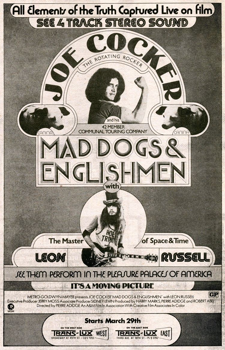 Mad Dogs & Englishmen (1971) starring Joe Cocker & Leon
