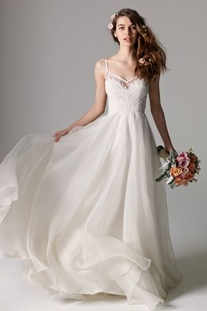 V-Neck A-Line Wedding Dress with Natural Waist in Silk Organza ...