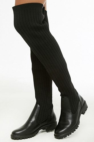 b1d6c080b3d Over-the-Knee Ribbed Knit Boots