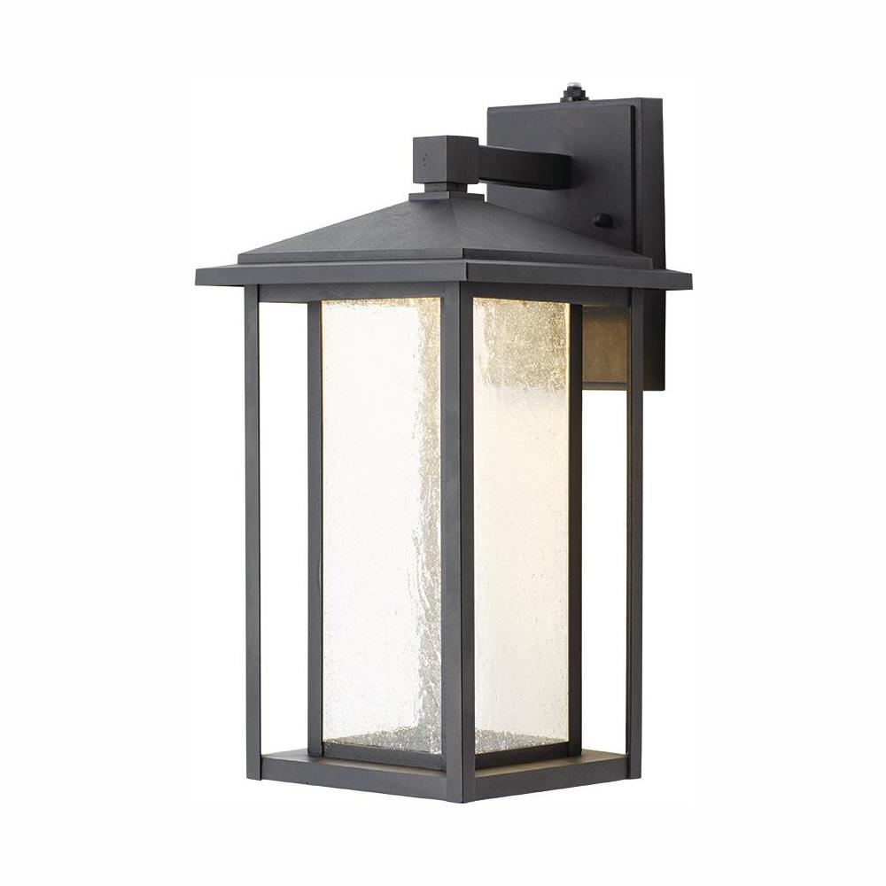 Home Decorators Collection Black Outdoor Seeded Glass Dusk To Dawn Wall Lantern Sconce Kb 06005 Del The Home Depot Outdoor Wall Mounted Lighting Wall Lantern Outdoor Light Fixtures