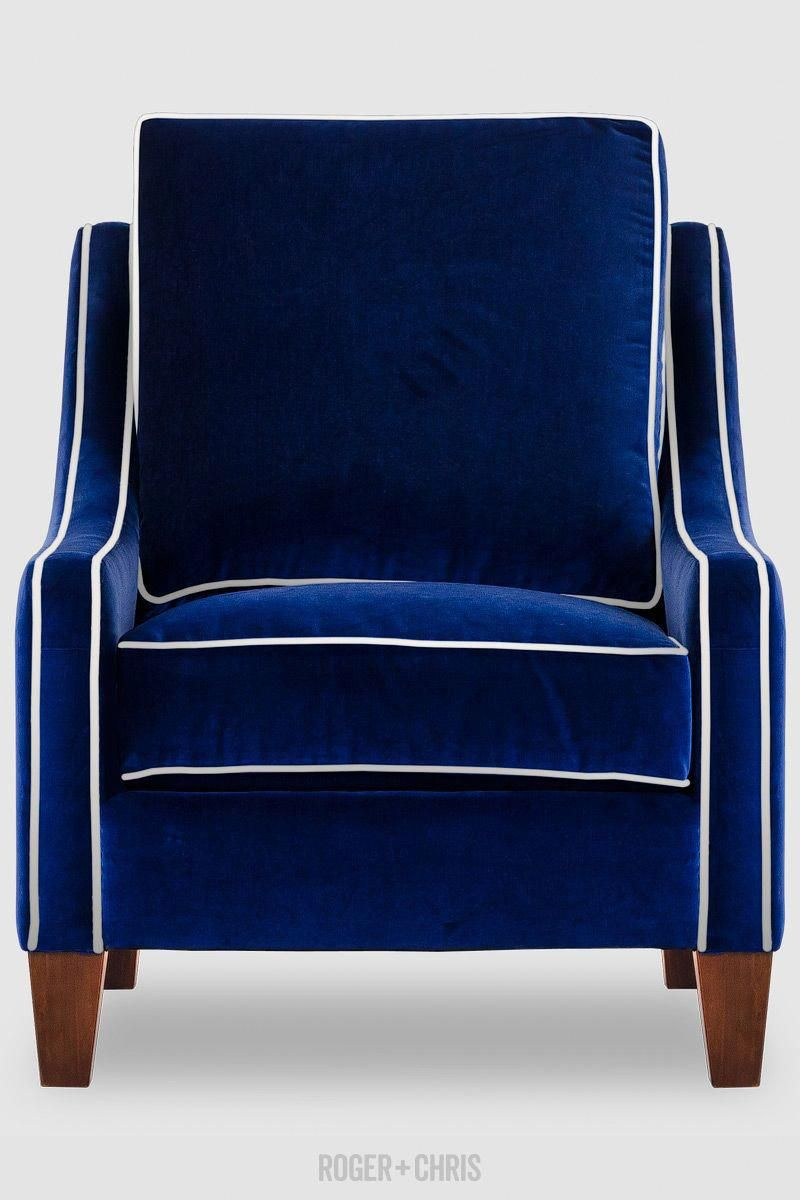 Gracie Midcentury Armchair In Blue Velvet With White Piping Made Usa Whitearmchair