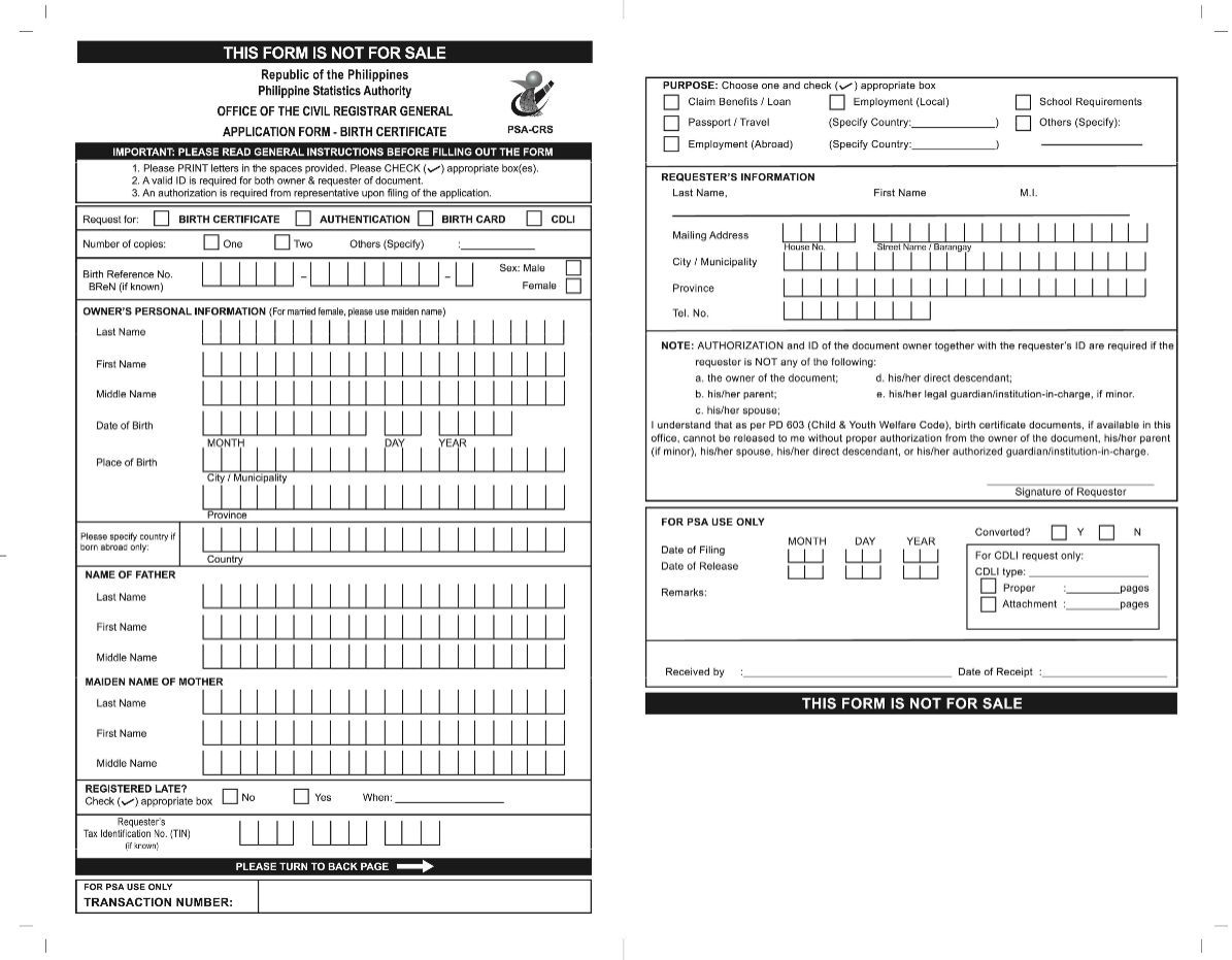 Image result for nso birth certificate form philippines