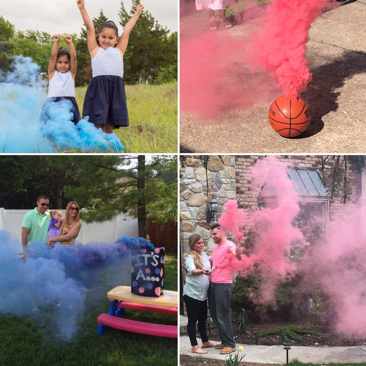 2 Pink Smoke BombsGender Reveal Party Pack Of 4 Gender Reveal Smoke 2 Blue