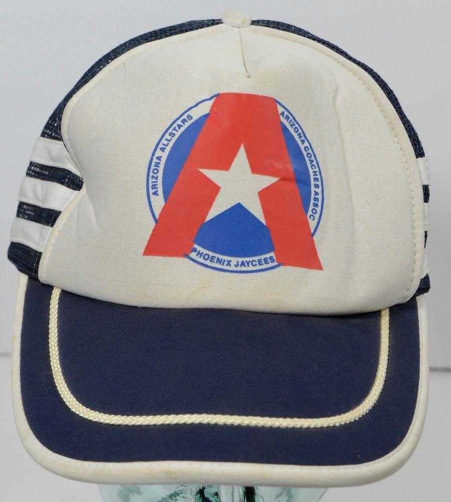 d2705e10044 Arizona Allstars Phoenix Jaycees Vintage Blue White Hat Trucker Mesh Foam  Cap  Nissin  Trucker
