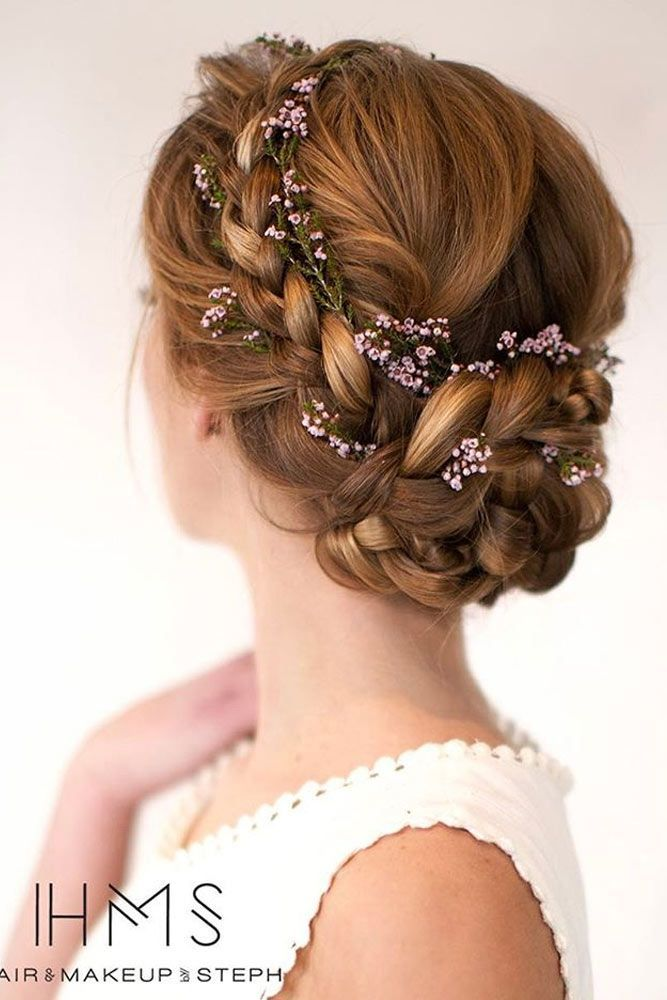 Updo With Braided Flowers Prom Hair Hairstyle Flower Crown Hairstyle Medium Hair Styles Medium Length Hair Styles