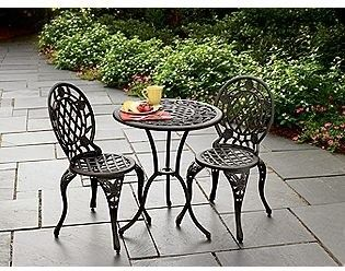 Iron Patio Furniture cast iron and aluminum bistro set - traditional - patio furniture
