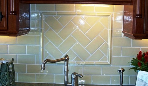 herringbone backsplash over stove, subway tile - Herringbone Backsplash Over Stove, Subway Tile For The Home