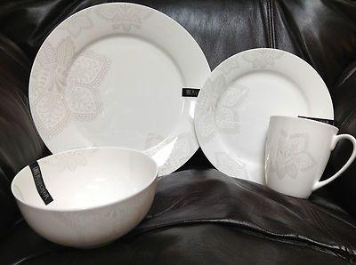Roscher fine bone china floral paisley pearl white 16pc dinnerware ...