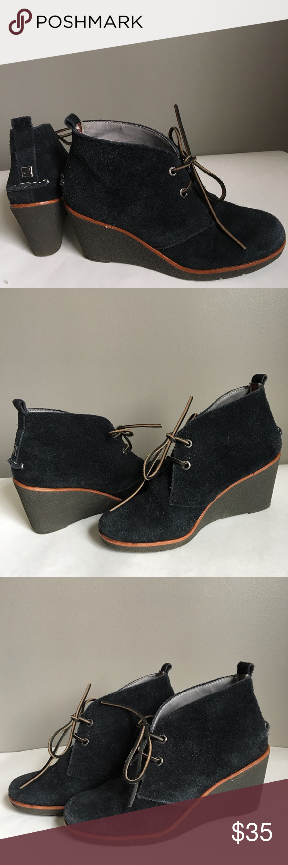 Sperry Top Sider Suede Navy Wedge Ankle Bootie Size 6M  Suede ankle bootie.  Good Used Condition  Su...