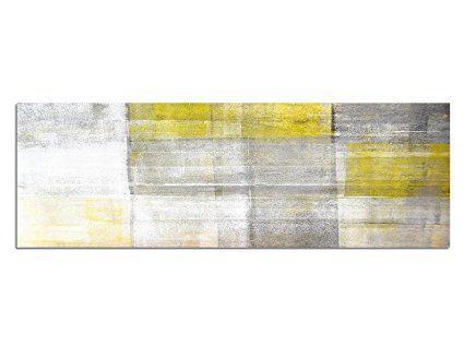 Keilrahmenbild Wandbild 150x50cm Malerei Kunst abstrakt gelb grau - wandbilder für die küche