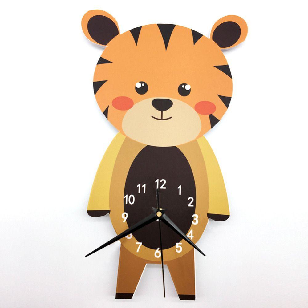 Cartoon Tiger Silent Wall Clock PVC DIY Wall Clock Nursery Room Wall ...