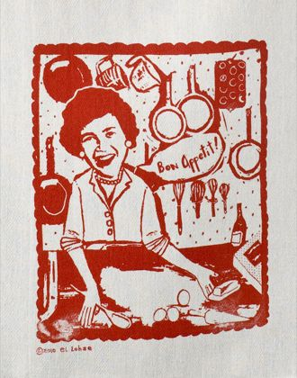I don't think I've ever seen a Julia Child tea towel before.