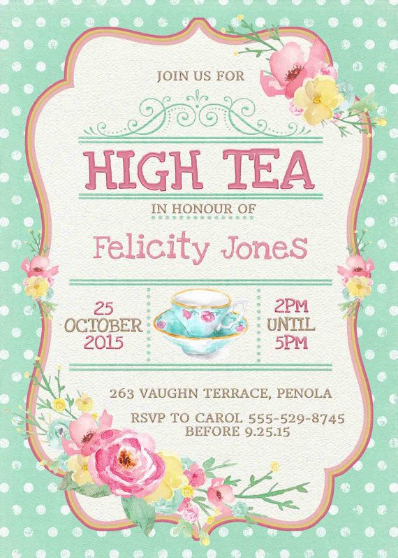 High tea invitation printable for bridal by for Morning tea invitation template free